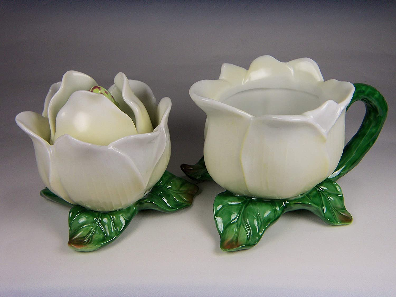 3-3//4 L 2 pcs Set Fine Elegant Porcelain White Magnolia Flowers Sugar /& Creamer Set