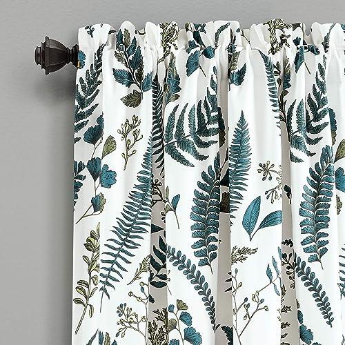 Lush Decor White-and-Green Devonia Room-Darkening Window Curtain Set 95 x 52