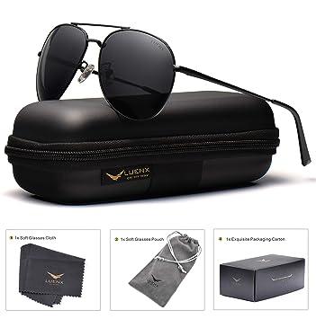 4dbf2a519 LUENX Aviator Sunglasses Mens Womens Polarized with Case - UV 400 Non Mirror  Black Lens Metal Black Frame 60mm: Amazon.ca: Sports & Outdoors