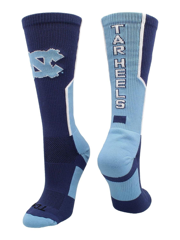 TCK Sports ノースカロライナ大学 ターヒール周辺クルーソックス B07HGQVDGL Navy/Carolina Blue/White Medium