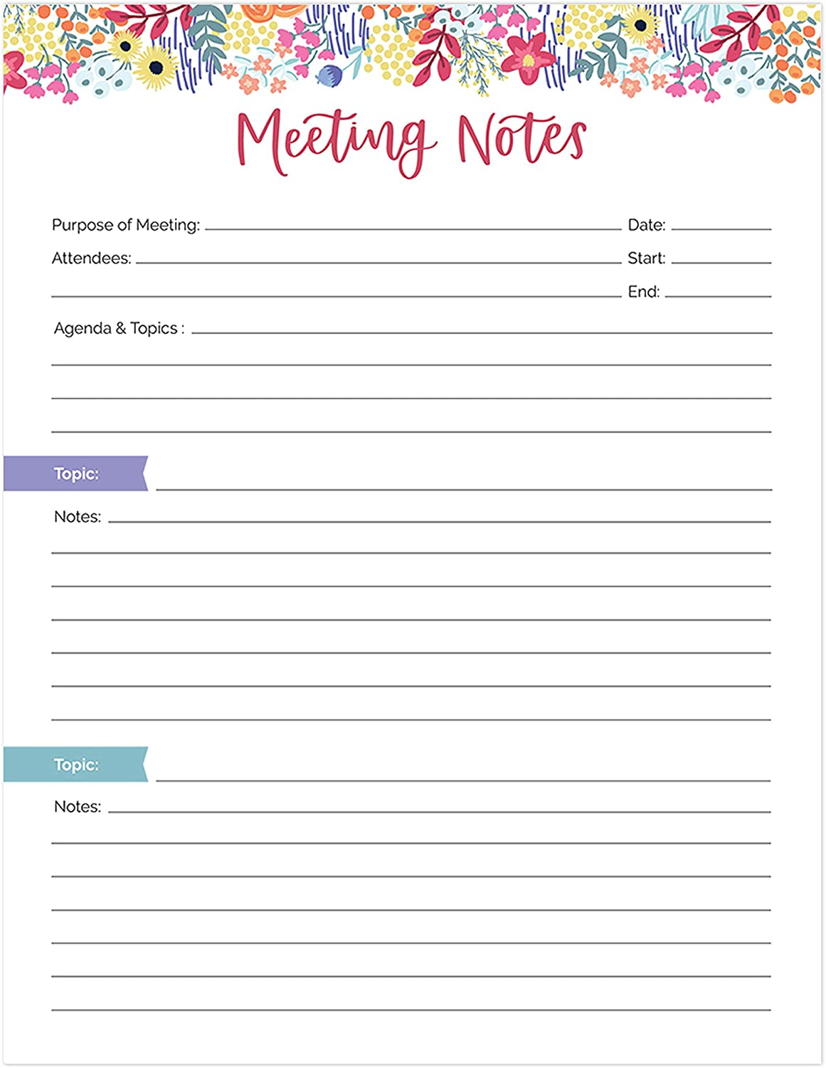 "bloom daily planners 8.5"" x 11"" Double Sided Meeting Pad - Topics, Takeaways, Action Items & Follow-Ups - Undated Meeting Notes Agenda Organizer"
