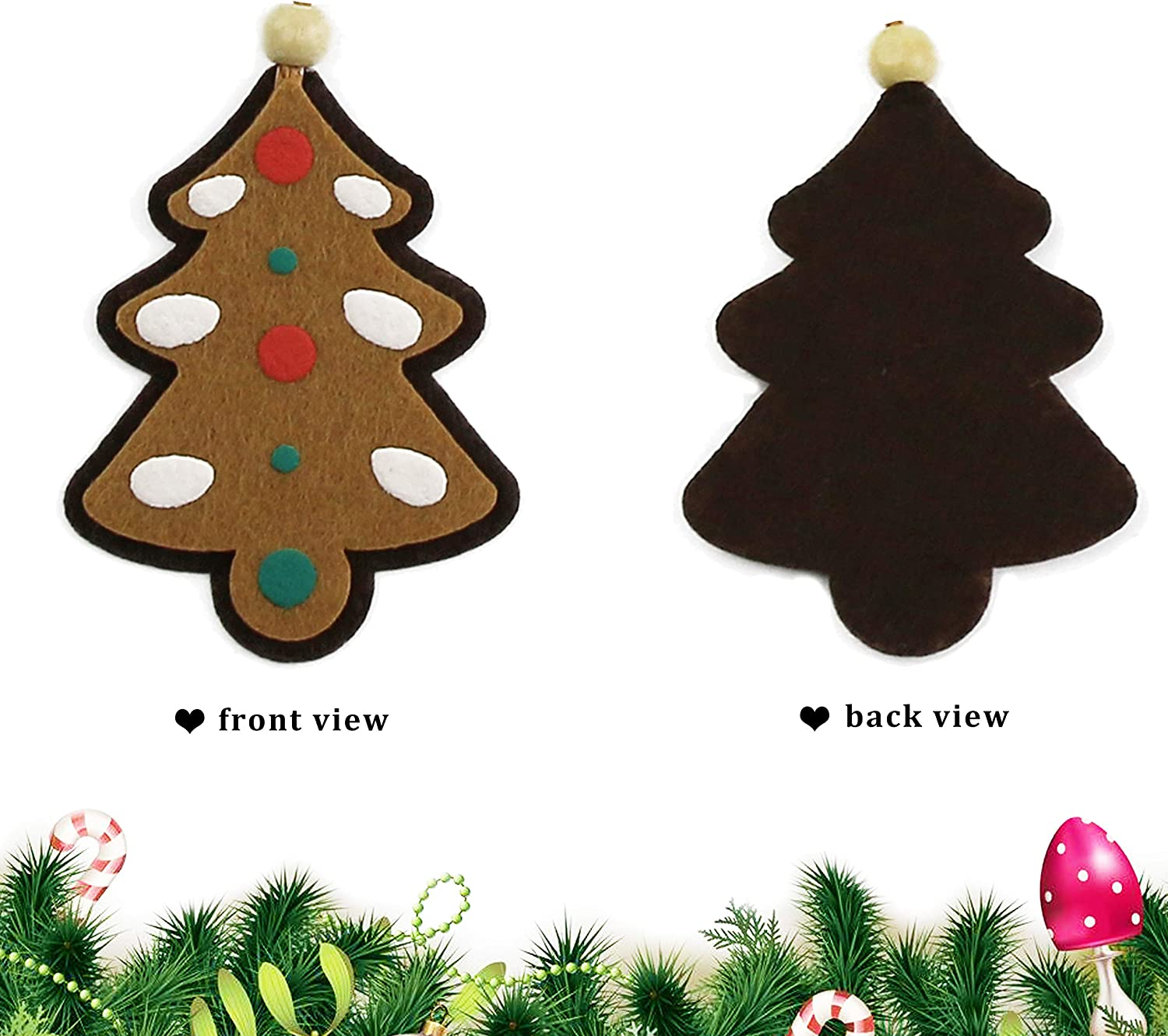 Athoinsu 10pcs Vintage Assorted Christmas Tree Decorations Cloth Gingerbread Snowflake Star Xmas Tree Stocking Bell Elk Hanging Home Ornaments Holiday Party Seasonal Decor Sets of 10 PCS Style 1