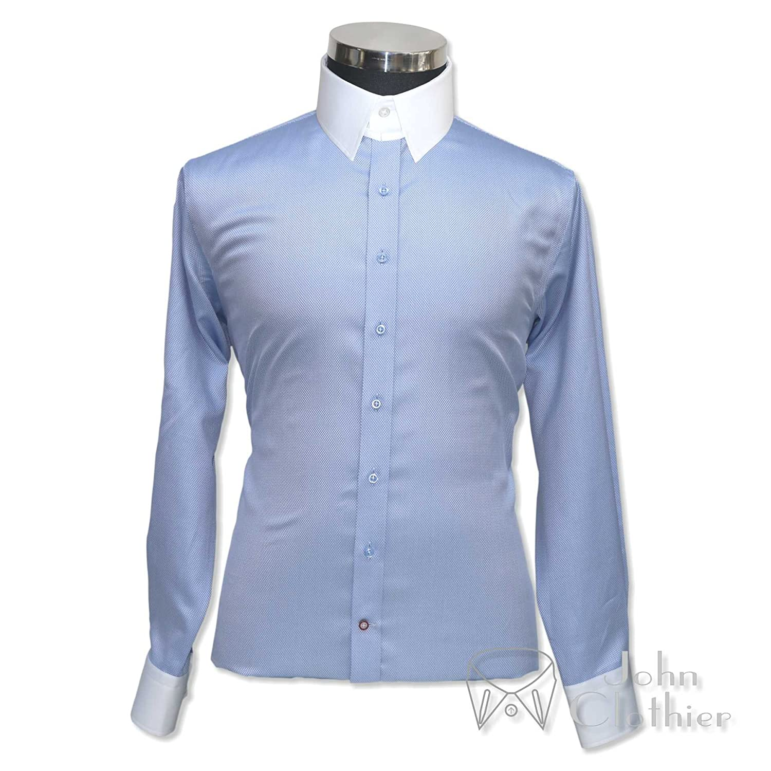 Edwardian Men's Shirts & Sweaters WhitePilotShirts Tab Collar Mens Bankers Shirt Sky Blue Diamond 100% Cotton Loop Long Sleeves Single Cuff Gents 100-01 $59.99 AT vintagedancer.com