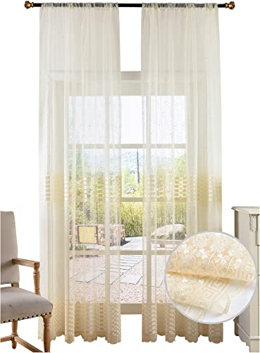 BW0057 Retro Chinese Style Clover Embroidered Sheer Curtain Window Treatment Transparent Rod Pocket