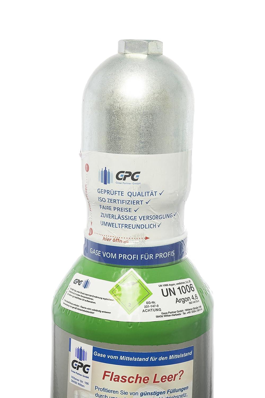 Argon 4.6 5 Liter Flasche/NEUE Gasflasche (Eigentumsflasche), gefü llt mit Argon 4.6 (Reinheit 99,996%)/10 Jahre TÜ V ab Herstelldatum/EU Zulassung/Schweiß argon WIG,MIG - Globalimport Gase Partner