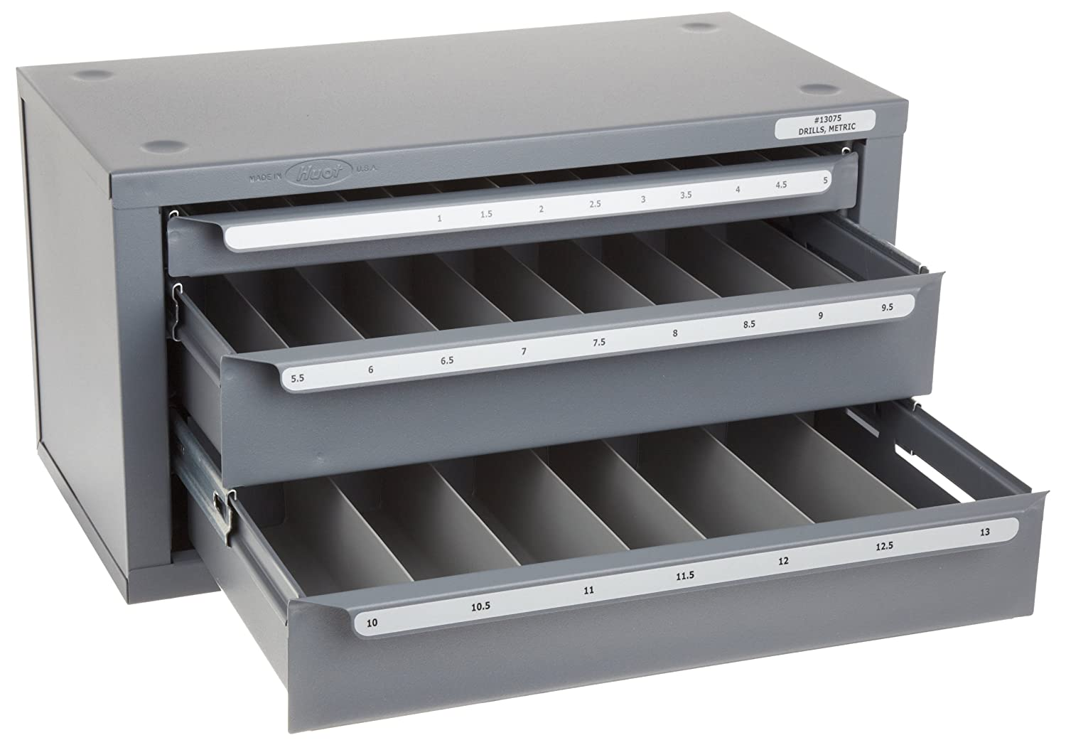 Huot Three-Drawer Drill Bit Dispenser Cabinet for Metric Sizes 1 mm to 13 mm in 0.5 mm Increments