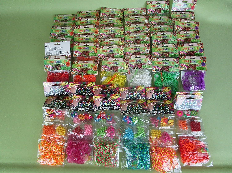 46 Packungen Loom Bänder bunt gemischt über 9000 Gummiringe ***Super-Set*** Preis gilt für das Gesamte Paket (46 Packungen) Toi-Toys