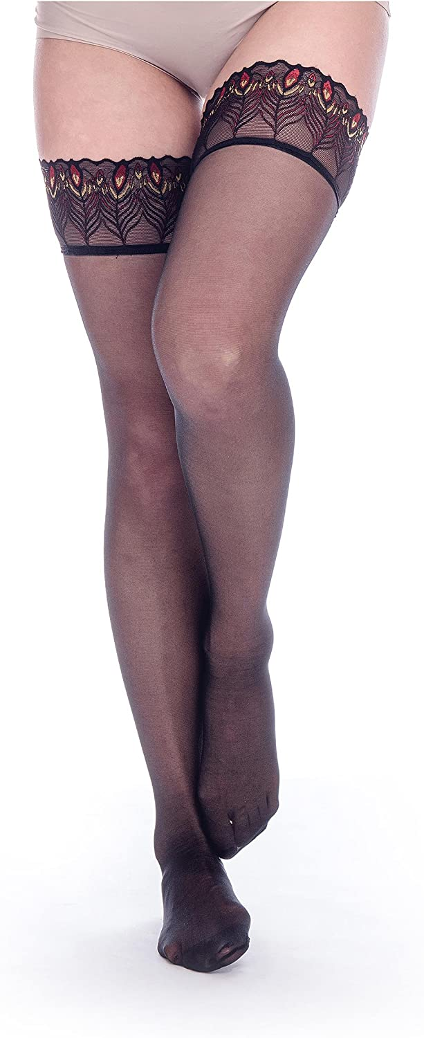 ElsaYX Womens Sheer Glossy Lace Border Seamed Thigh Silicone High Hold-Up Stocking