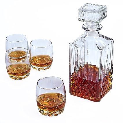 Botella de whisky de cristal cuadrado con 4 x 200 ml vasos ...