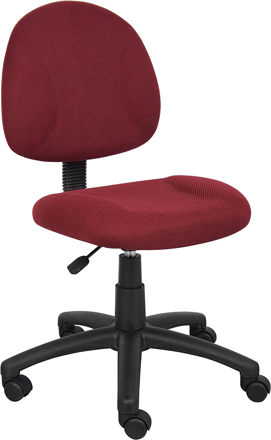 Boss Office Products B315-BY Perfect Posture Delux Fabric Task Chair without Arms in Burgundy