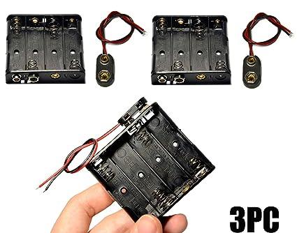 Amazon.com: LAMPVPATH 3 Pcs 4 x 1.5V (6V) AA Battery Holder with 3 ...