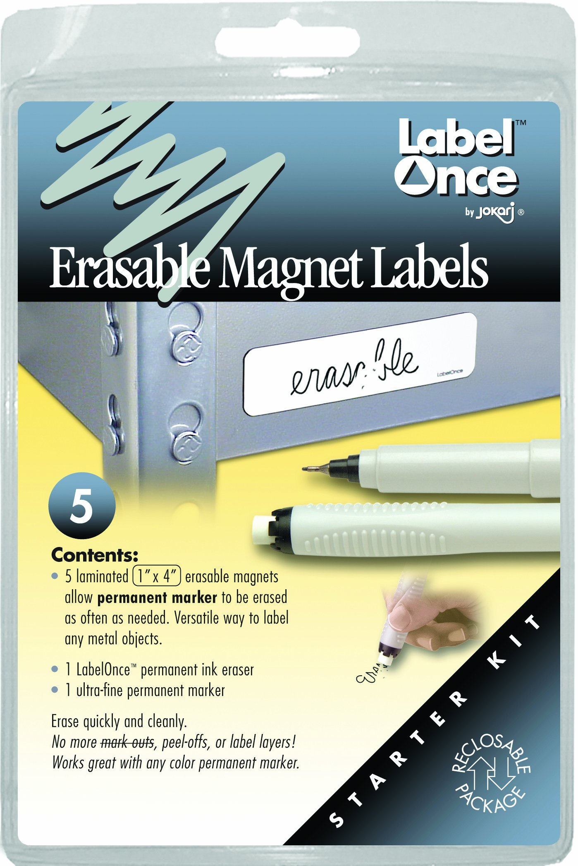 Jokari Label Once Erasable Magnetic Labels Starter Kit with 5 Labels, Eraser and Pen