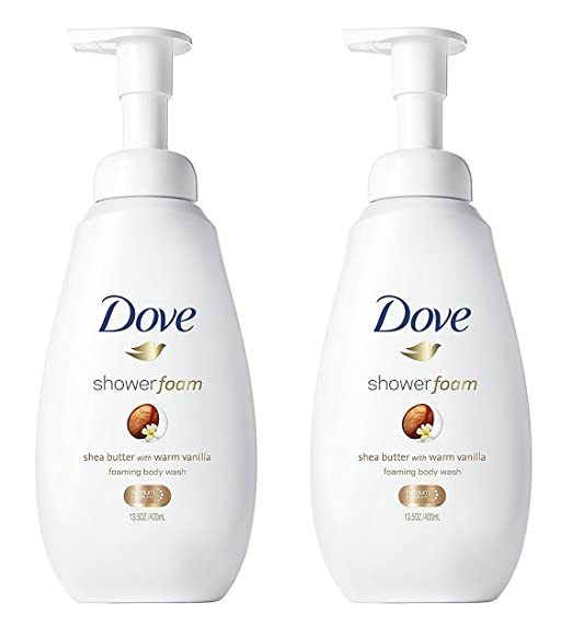 Dove Shower Foam - Foaming Body Wash - Shea Butter With Warm Vanilla - Net Wt. 13.5 FL OZ (400 mL) Per Bottle - Pack of 2 Bottles