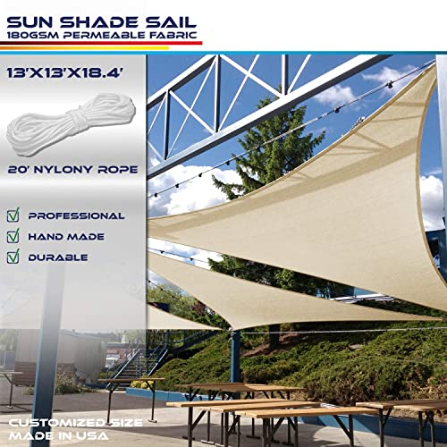 Windscreen4less 13 x 13 x 18.4 Triangle Sun Shade Sail – Beige Durable UV Shelter Canopy for Patio Outdoor Backyard – Custom 3 Year Warranty