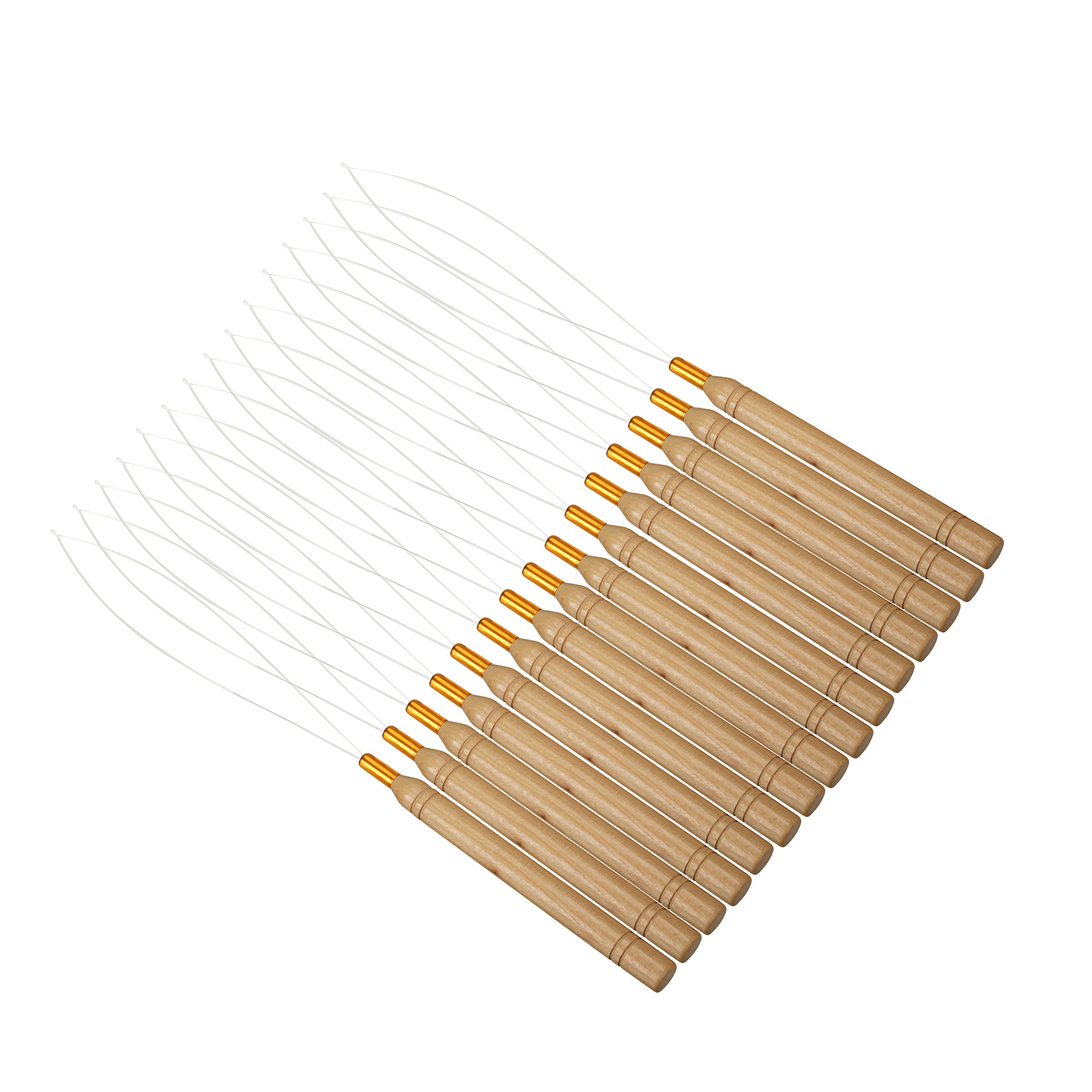 Odstore 15 Pack Wooden Hair Extension Loop Needle