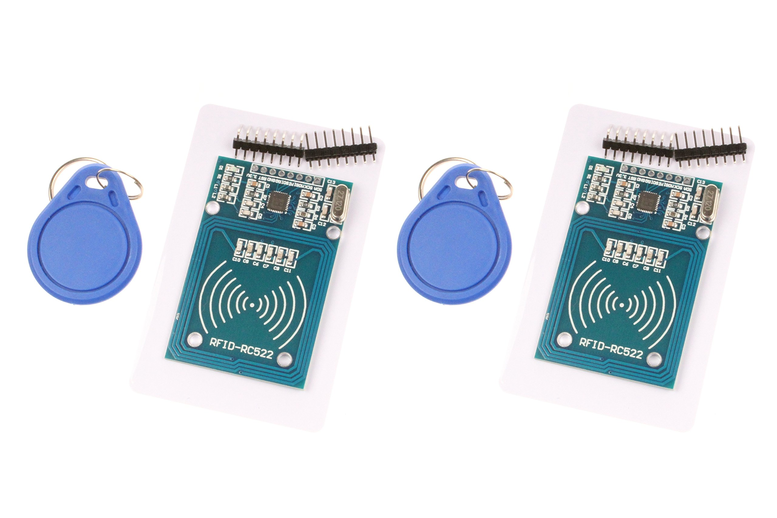 MFRC-522 RC522 RFID RF IC Card Inductive Module With S50 White Card and Key Ring for Arduino - 2 Sets by NOYITO