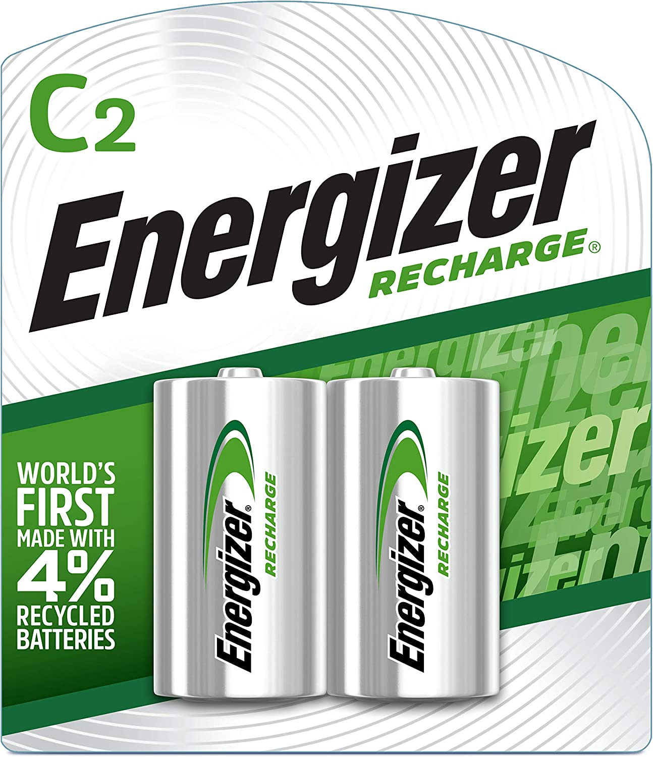 Energizer NH35BP-2 Precharged Recharg Battery, C, NiMh, PK2 Lighting, 2 Count (Pack of 1), Green and Silver: Electronics
