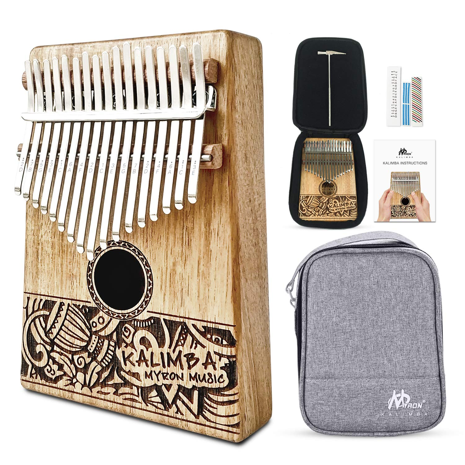 MYRON Kalimba 17keys Thumb Piano Solid Koa with Portable Protective Case, tuning hammer chord sticker and sutdy instruction by Myron (Image #1)