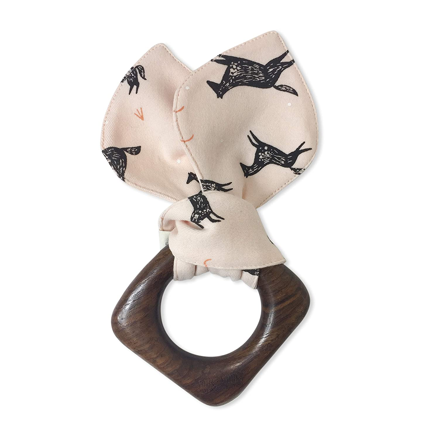 Origami B06-0922a Finn Emma Natural Wood and Organic Cotton Teething Ring for Baby Boy or Girl