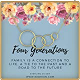 KEDRIAN Four Generations Necklace, 925 Sterling Silver, Great Grandma Gifts, Grandmother Necklace, 4 Generations…
