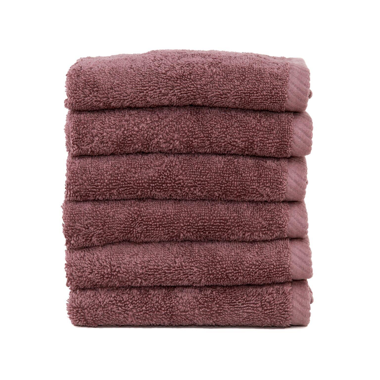 Linum Home Textiles Soft Twist Premium Authentic Soft 100% Turkish Cotton Luxury Hotel Collection Washcloth, Set of 6, Sugar Plum