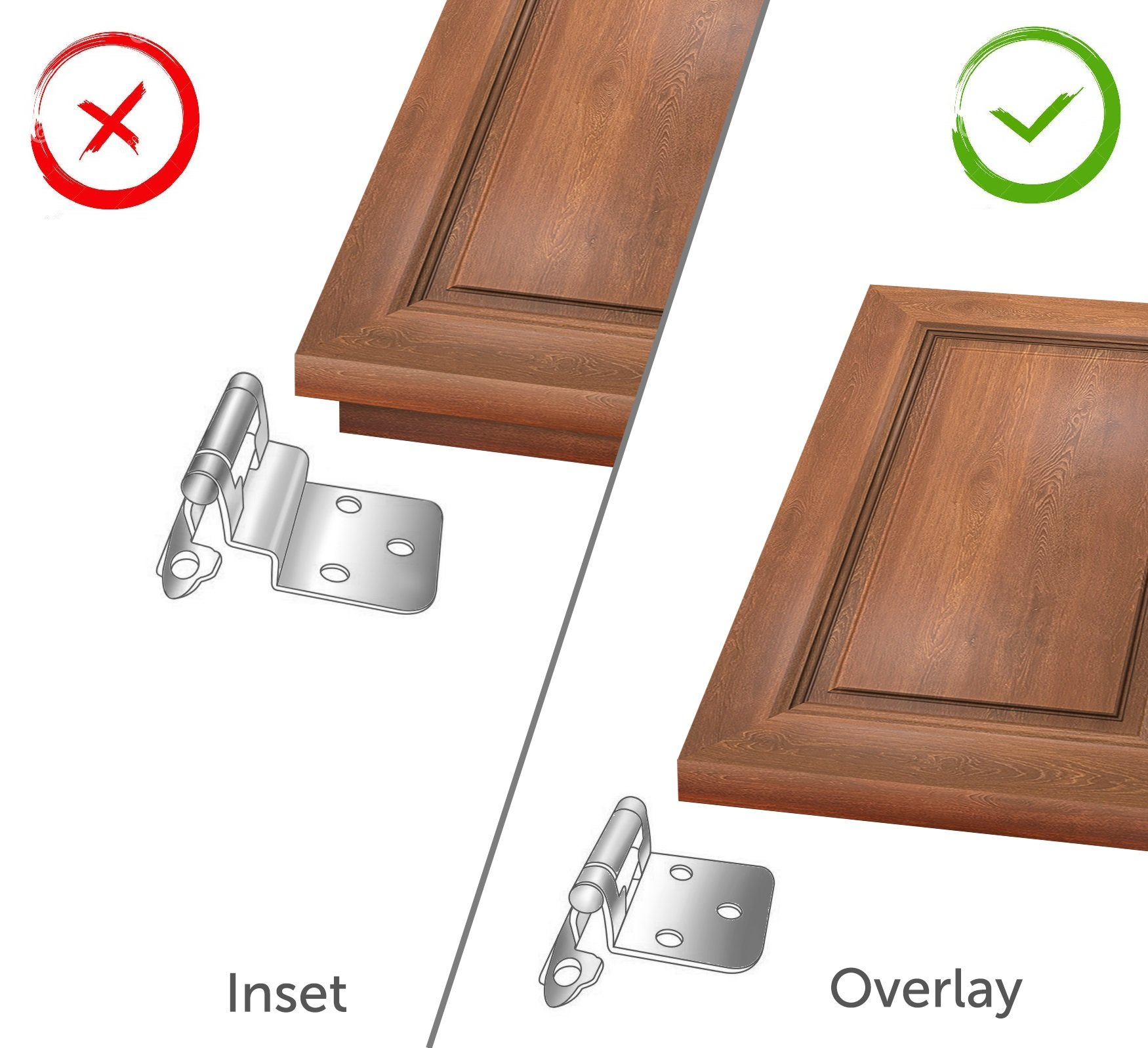 Berlin Modisch Overlay Cabinet Hinge 10 Pair (20 Units) Self-Closing Decorative, Face Mount, for Variable Overlay Kitchen Cabinet Doors Satin Nickel Finish, with Sound Dampening Door Bumpers by Berlin Modisch (Image #2)