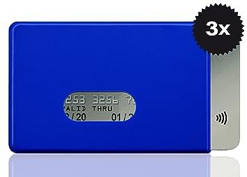 w4912015 RFID – Fundas 3 x Fred para tarjeta de crédito, color azul