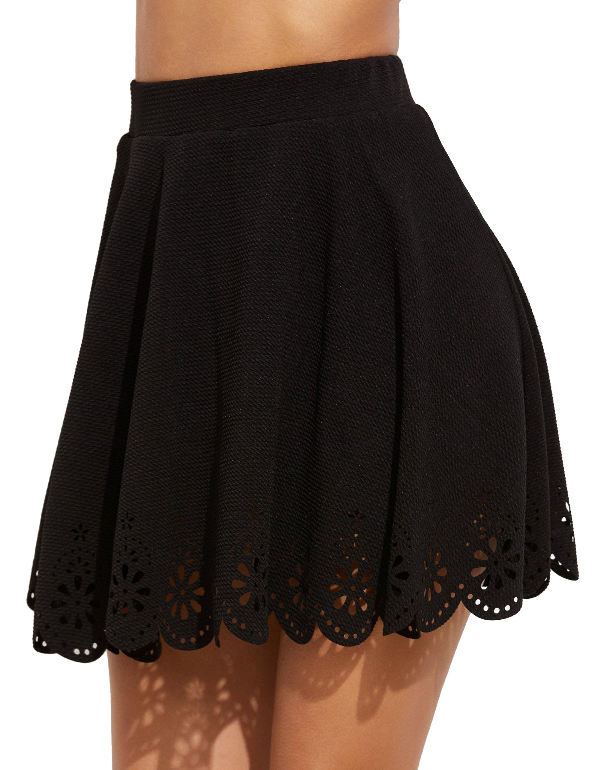SheIn Women's Basic Solid Flared Mini Skater Skirt 3X-Large Black