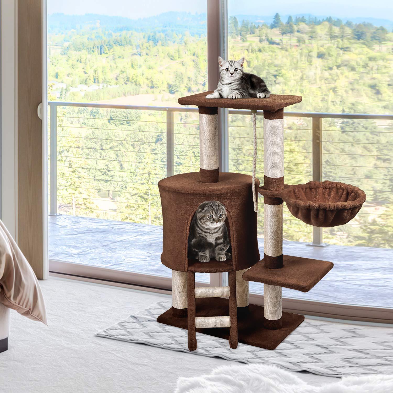 KExing Árbol de Gato Rascador Árbol Trepador Sisal Felpa con Hamaca y Cuerda 96 cm Marrón: Amazon.es: Productos para mascotas