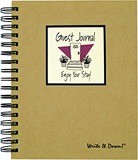 """product image for Journals Unlimited """"Write it Down!"""" Series Guided Journal, Guest Journal, Enjoy Your Stay!, with a Kraft Hard Cover, Made of Recycled Materials, 7.5""""x 9"""""""
