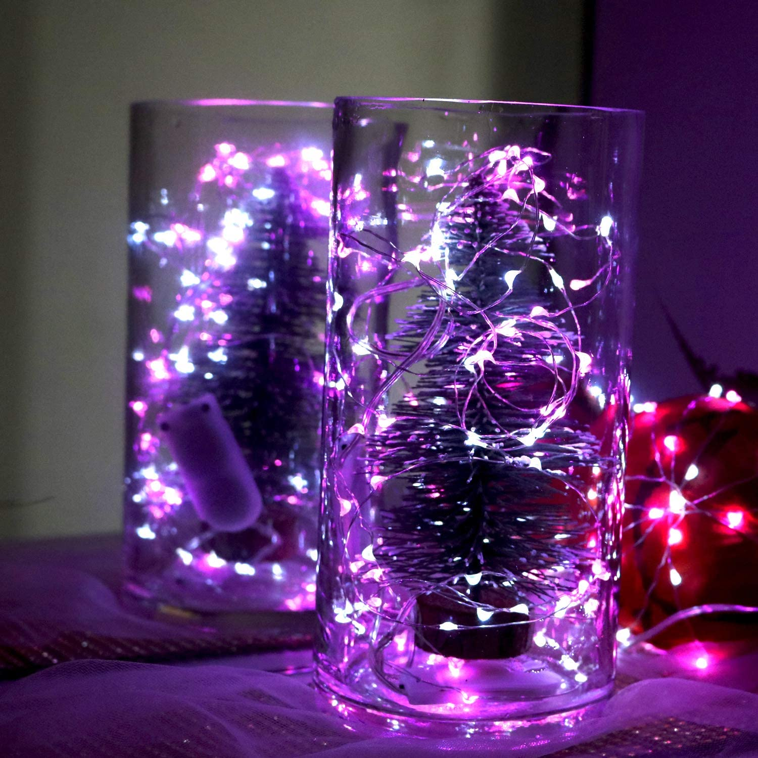 OakHaomie 6PCS 10ft 3m for DIY Wedding Centerpiece Table Decorations Cool White LED Starry String Lights 30 Micro LEDs on Silvery Copper Wire,2pcs CR2032 Batteries Required and Included
