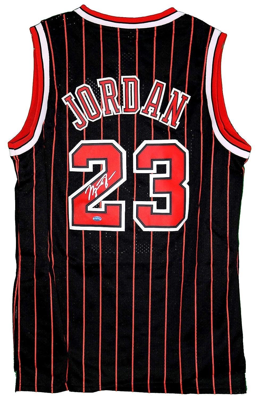 4a07e7dd761ae Michael Jordan Chicago Bulls Signed Autographed Black Pinstripe #23 ...