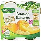 Blédina Pots Fruits Pommes Bananes dès 4/6 mois 4 x 130 g - Pack de 6