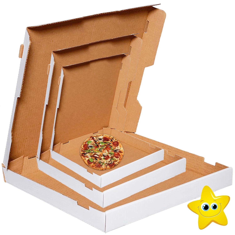 7 100 x Pizza Boxes Plain White Postal Box Takeaway Style Box White