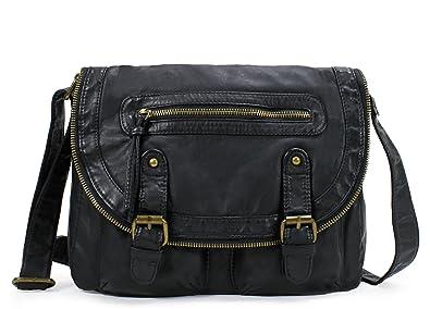 9bd19d7819e34 Amazon.com  Scarleton Chic Soft Washed Flap Crossbody Bag H183201 - Black   Shoes