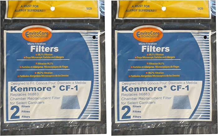 Kenmore Sears Progressive Foam Filter CF1, Progressive & Whispertone, Panasonic Vacuum Cleaners, 86883, 86880, 20-86883, 2086883, 8175084 (4 Filters)