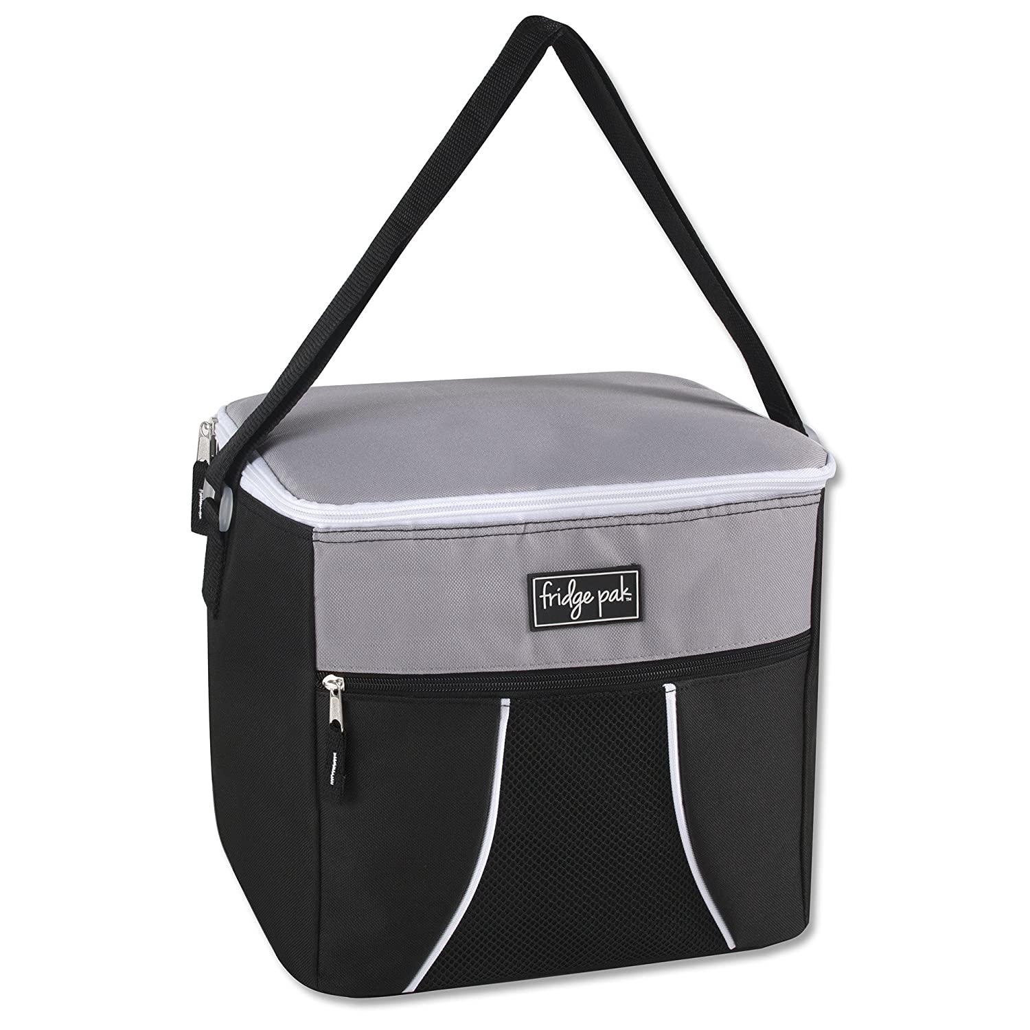 Fridge Pak Insulated 24 Can Large Capacity Insulated Cooler Bag and Extra Large Adult Lunchbox Black
