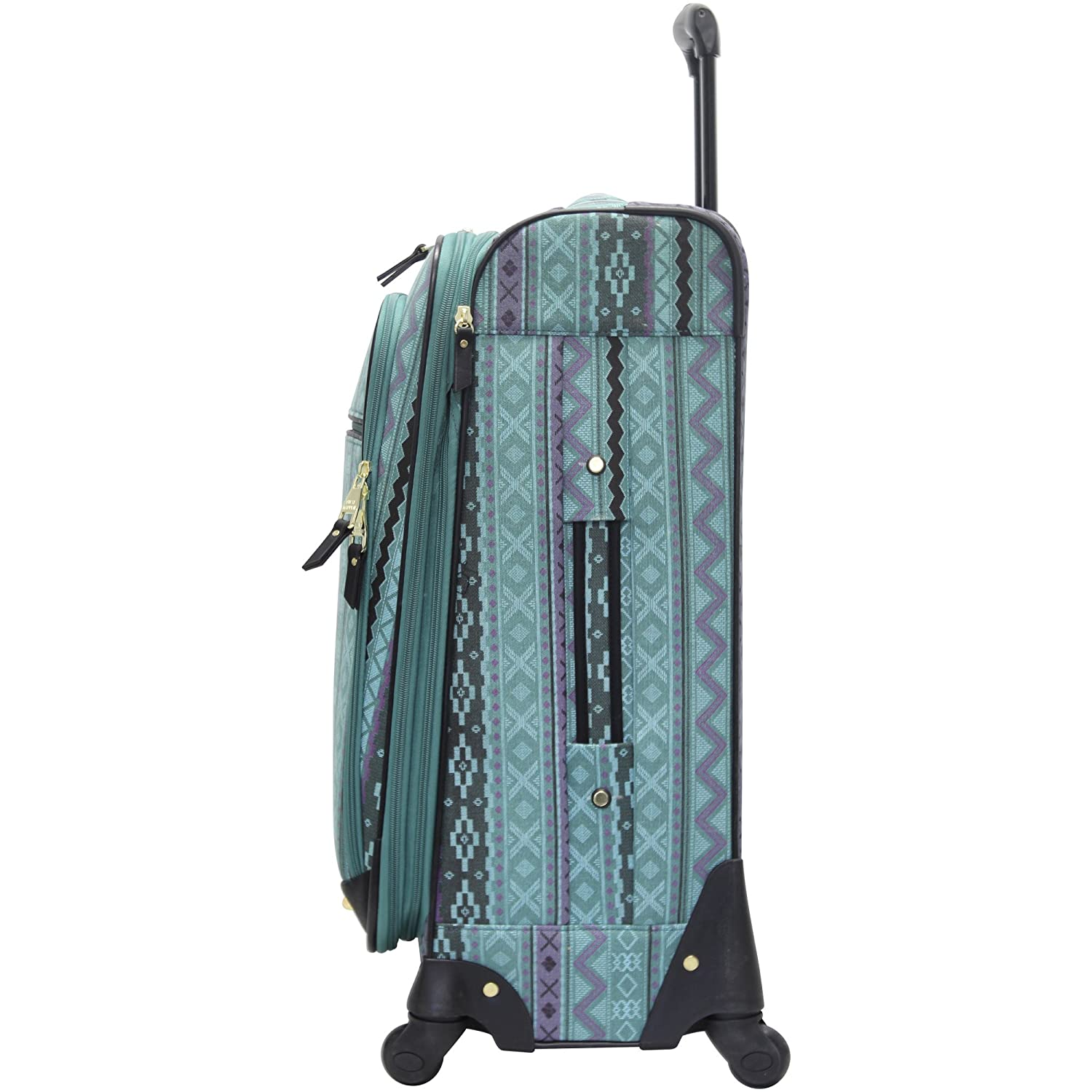 Steve Madden Luggage 3 Piece Softside Spinner Suitcase Set Collection Legends Turquoise