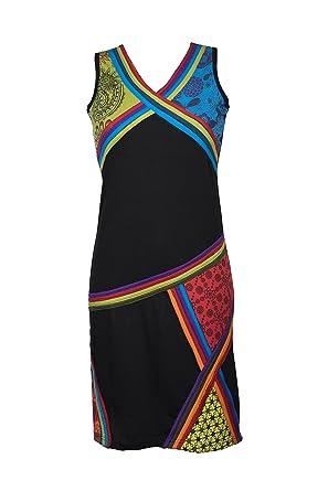 ausgefallenes kleid mit zig zag muster und bunten ethno patchwork prints hippie chic devi - Kleid Ethno Muster
