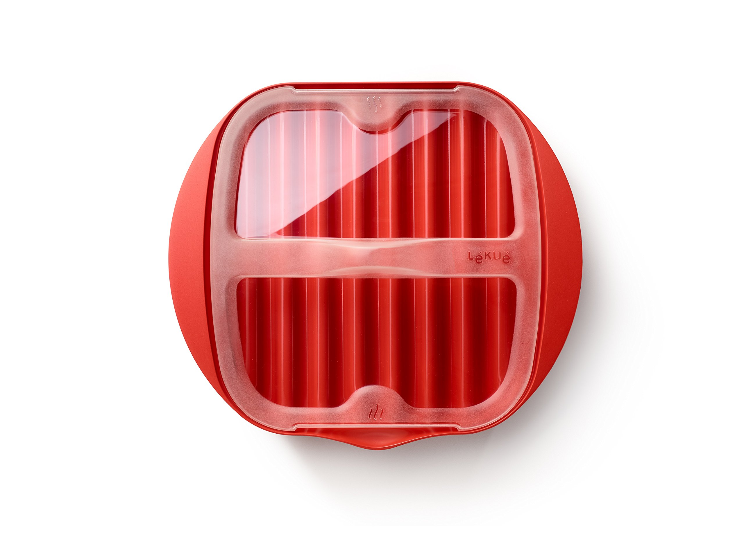 Lekue Microwave Bacon Maker/Cooker with Lid, 11.02'' L x 9.8'' W x 2.3'' H, Red by Lekue (Image #2)