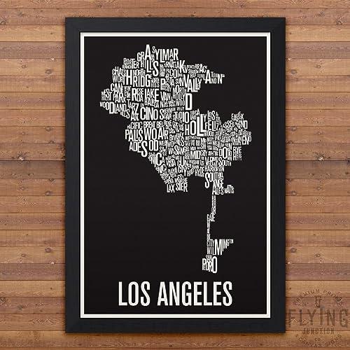 Amazon Los Angeles Neighborhood Map Print Handmade: Los Angeles Map Print At Infoasik.co