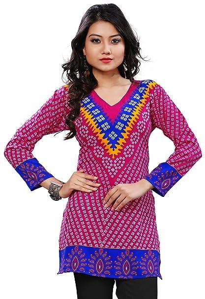 Top tipo túnica, estampado étnico, Kurti, Blusa estilo India