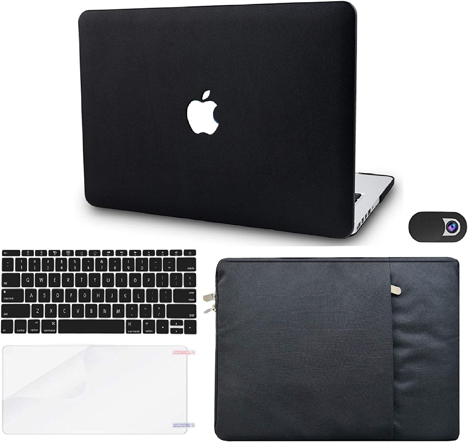 """KECC Laptop Case for MacBook Pro 13"""" (2020,Touch Bar) w/Keyboard Cover + Sleeve + Screen Protector + Webcam Cover (5 in 1) ltalian Leather A2289/A2251 (Black Leather)"""