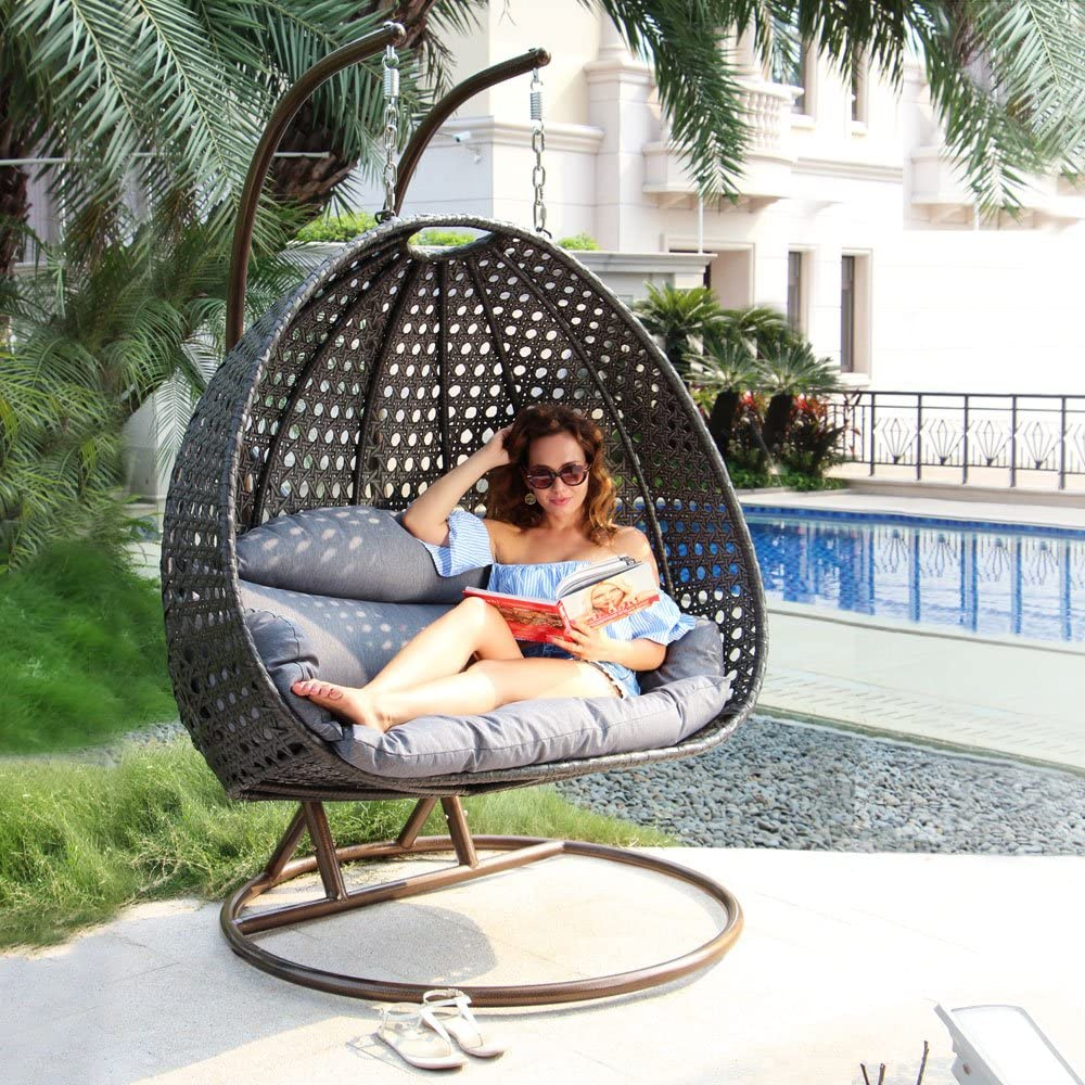 Best Hanging Egg Chair with Stand - Island Gale Luxury 2 Person Wicker Swing Chair