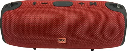 QFX Portable Rechargeable Bluetooth Speaker with Carry Strap FM Radio USB//Micro-SD Red BT-220-RD