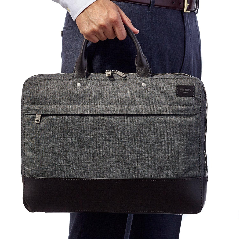 Jack Spade Tech Oxford Slim Briefcase Bag, Grey with Leather Trim