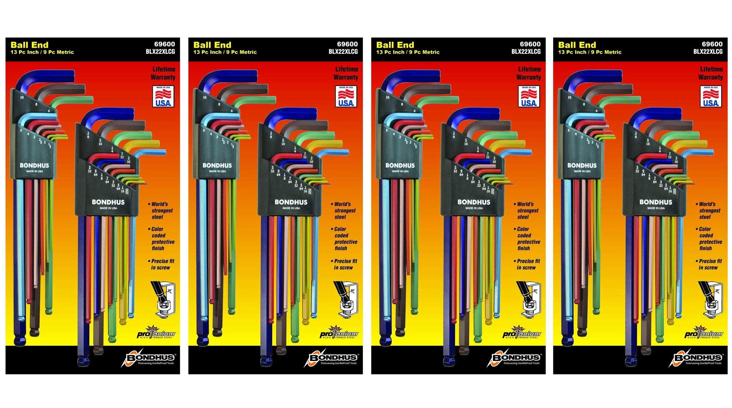 Bondhus 69600 Ball End Double Pack L-Wrench Set with ColorGuard, 13 Piece (4-(Pack))