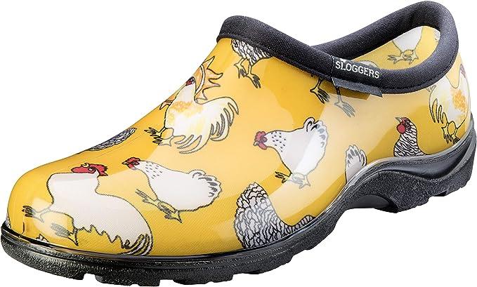 Sloggers Womens Chicken Print Rain And Garden Boot Yellow Size 8