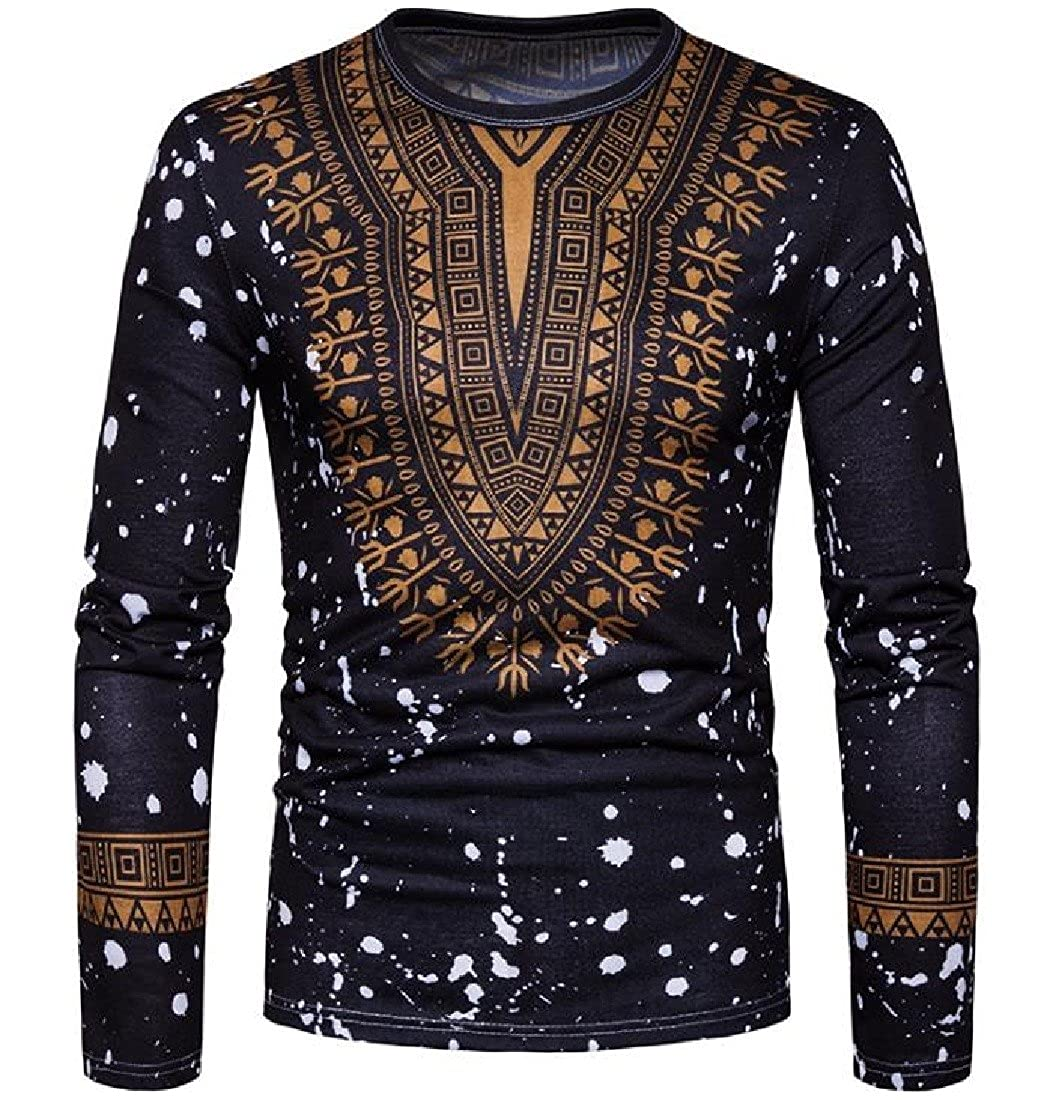 Tingwin Men Pullover Navajo Floral Long-Sleeve African Dashiki Silm Fit Tees