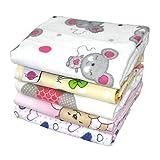 Babymajawelt - Copertine in soffice flanella per bebè, specifiche per femminucce, 70 x 80 cm, 5 pezzi